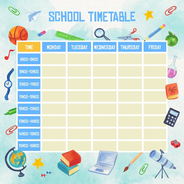 Watercolour school timetable with books and pens Premium Vector