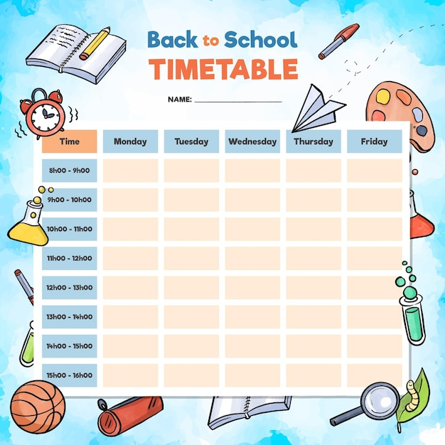 Watercolour school timetable with objects Premium Vector