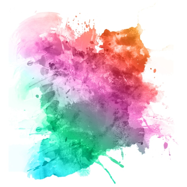Watercolour splatter in rainbow colours Free Vector