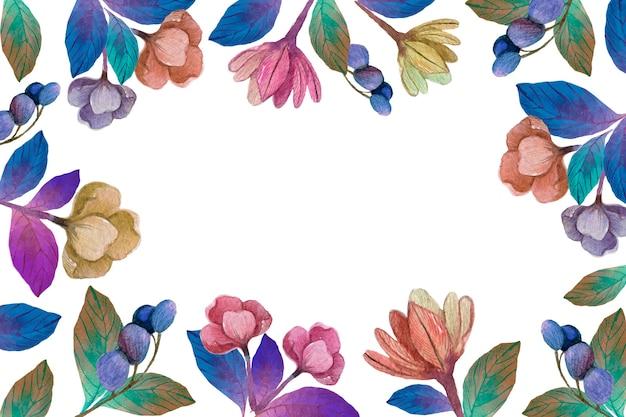水彩春咲く花の背景 無料ベクター