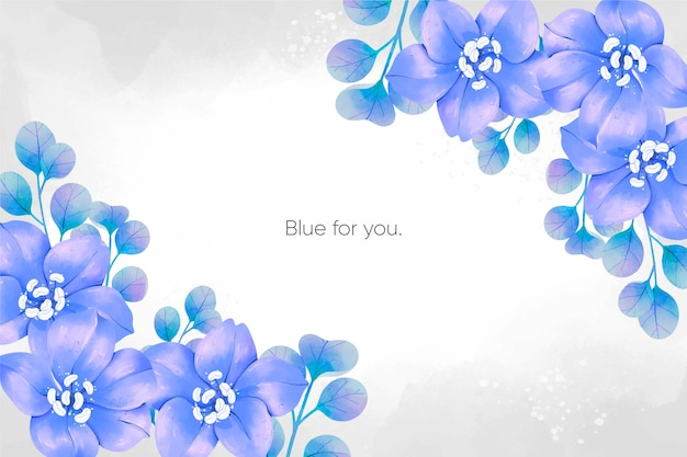 Watercolour spring blue flowers background Free Vector