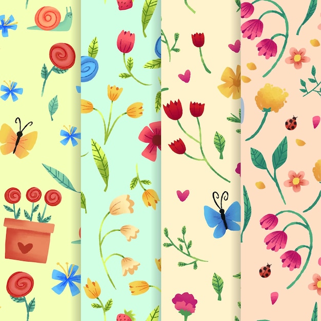 Watercolour spring pattern set with tulip flowers Free Vector