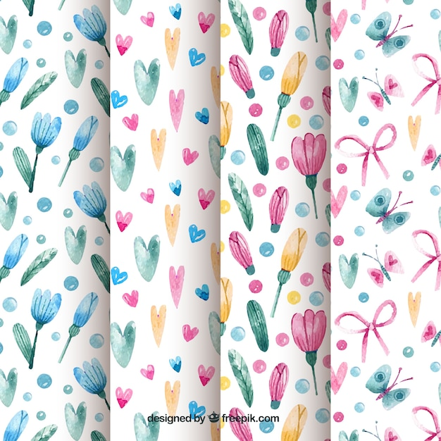 Watercolour spring patterns Free Vector