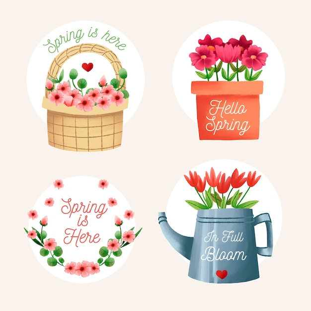 Watercolour traditional object label collection for spring Free Vector
