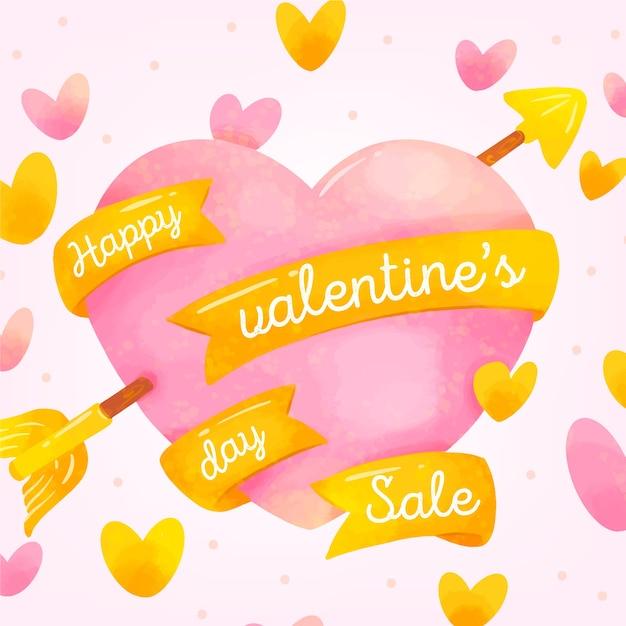 リボンと水彩バレンタインセールハート 無料ベクター