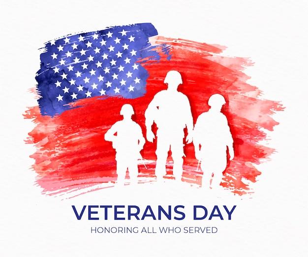 兵士との水彩の退役軍人の日 Premiumベクター