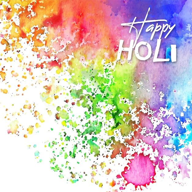 Watercolour vivid colours holi festival with stains Free Vector