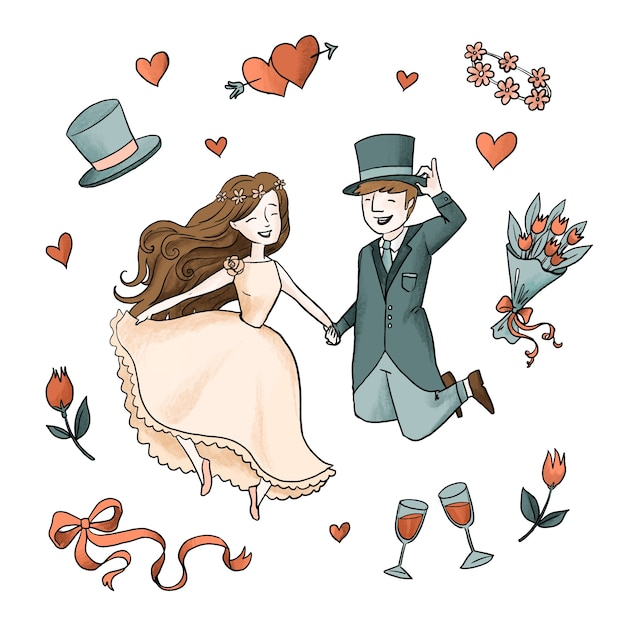 Watercolour wedding couple with roses and wine Free Vector