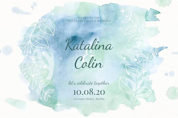 Watercolour wedding invitation template Free Vector