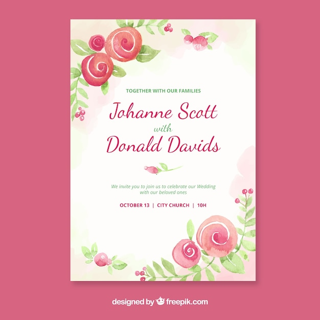 Watercolour wedding invitation with flowers Free Vector