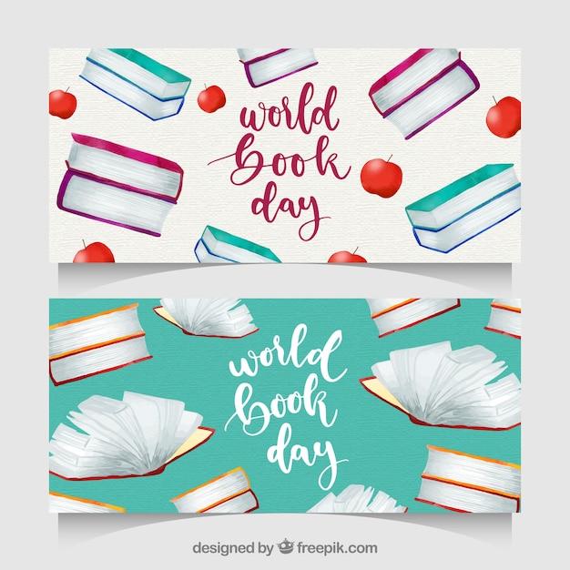 Insegne di giorno del libro mondiale dell'acquerello Vettore gratuito