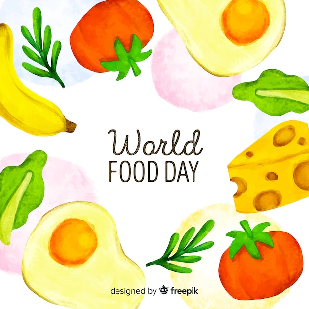 Watercolour world food day with fruit and dairy products Free Vector