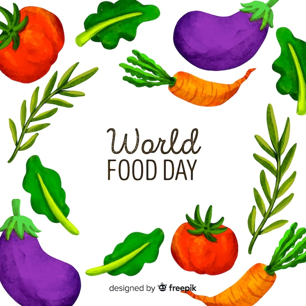 Watercolour world food day with vegetables Free Vector