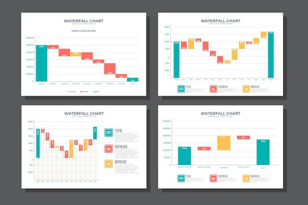 滝グラフコレクションインフォグラフィック 無料ベクター