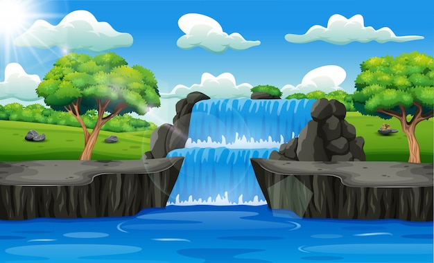 Waterfall landscape background in forest Premium Vector