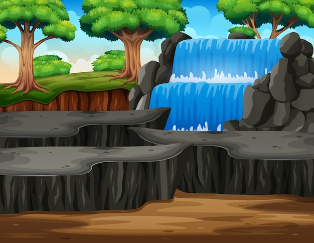 Waterfall landscape in the middle of forest Premium Vector