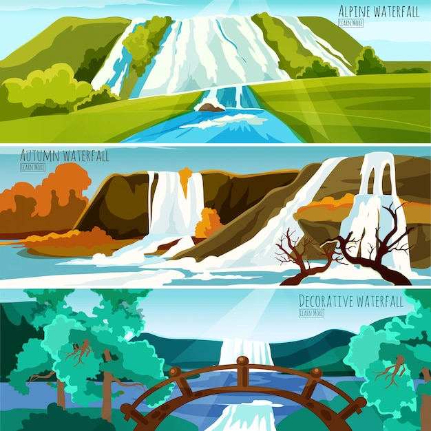 Waterfall landscapes banners Free Vector