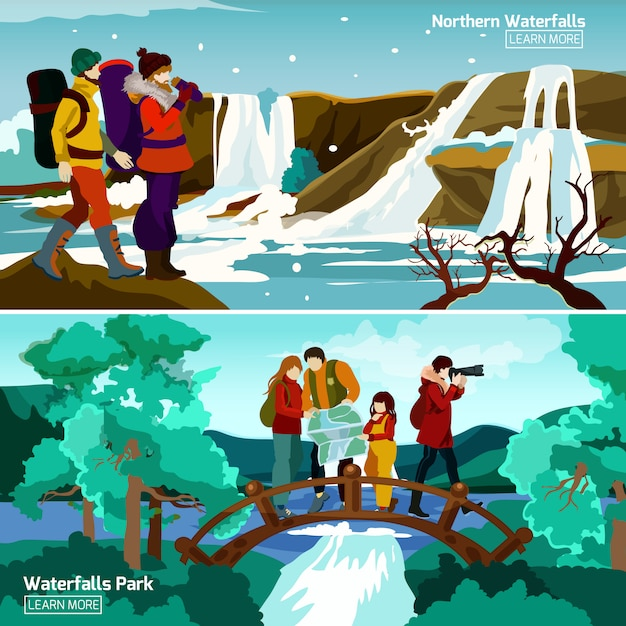 Waterfall landscapes compositions Free Vector