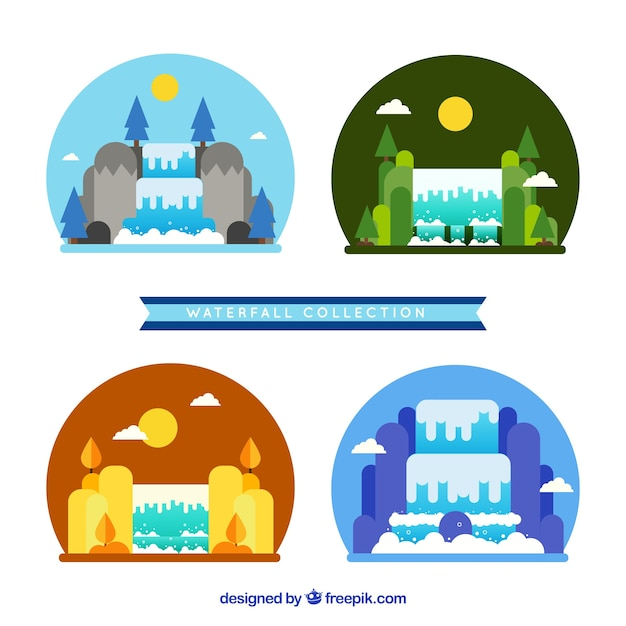Waterfalls collection in cartoon style
