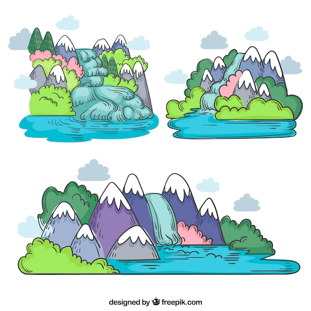 Waterfalls collection in cartoon style Free Vector