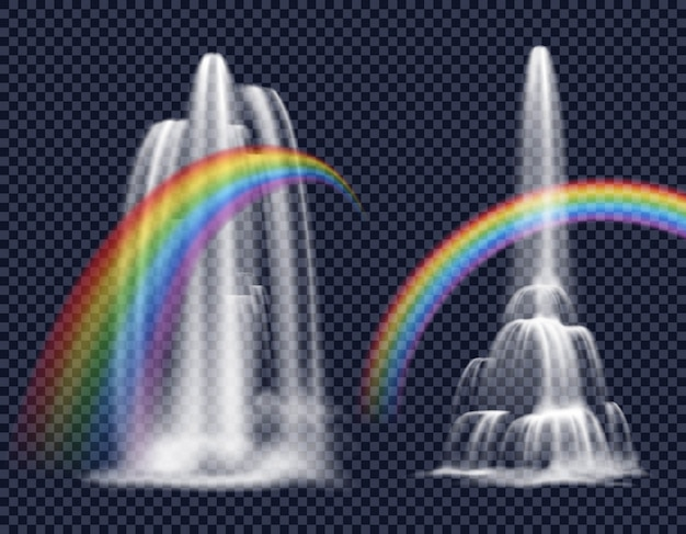 Waterfalls and rainbows decorative elements Free Vector