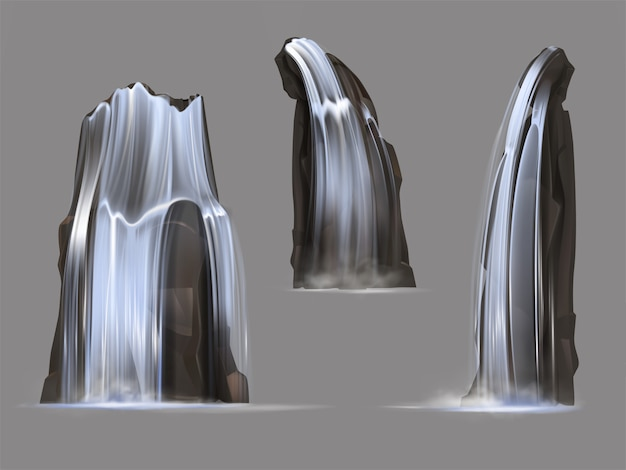 Waterfalls with different shape cascades Free Vector