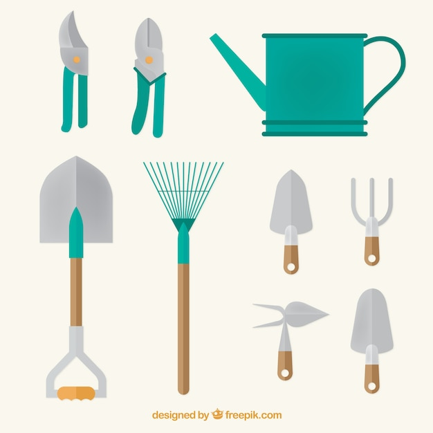 Watering can and garden tools in flat design vector free for Gardening tools vector