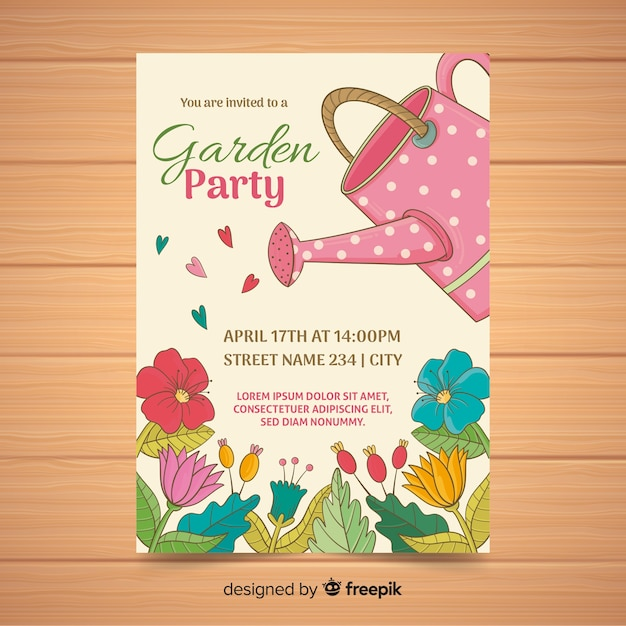 Watering can garden party poster Free Vector