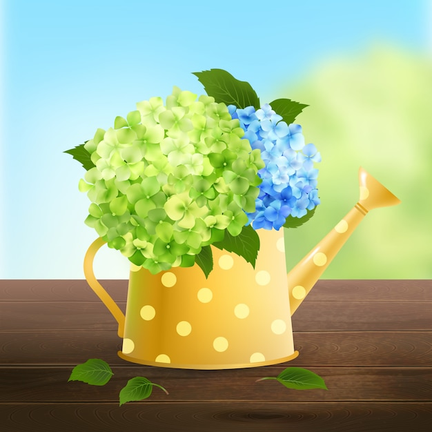 Watering can with hydrangea Free Vector