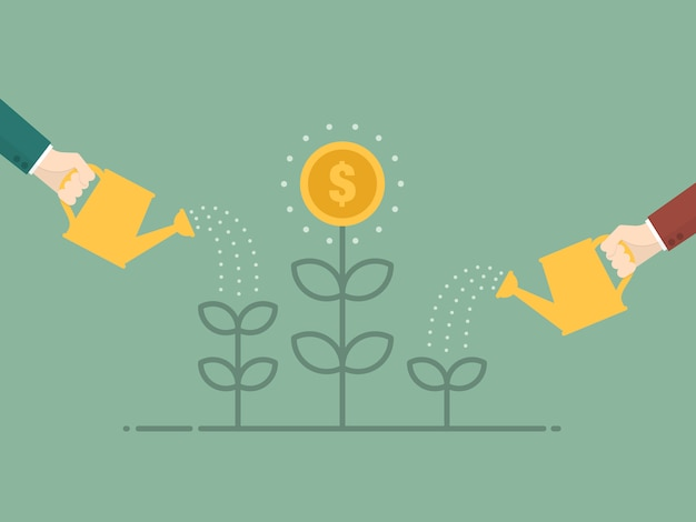 Watering the coin plant Free Vector