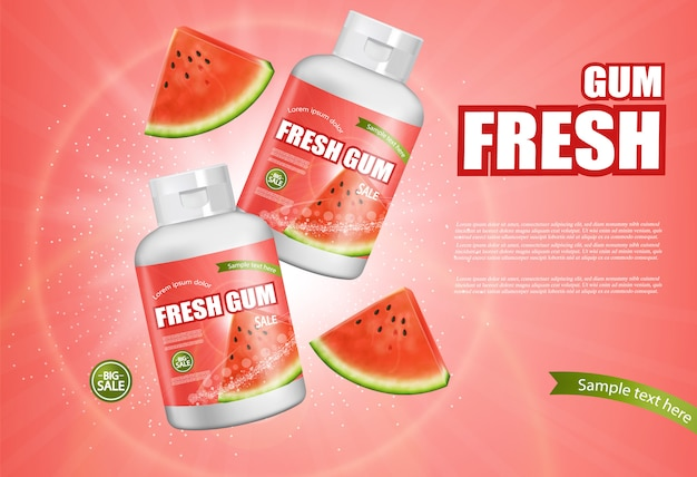 Watermelon chewing gum banner Premium Vector