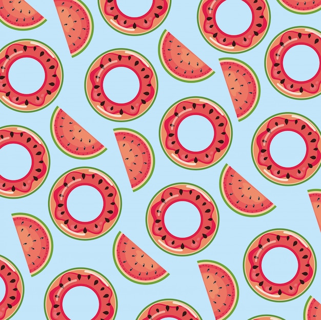 Watermelon float over blue seamless pattern wallpaper Premium Vector