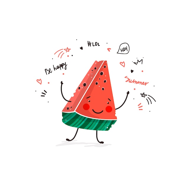 Watermelon fruit cute cartoon doodle sketch illustration Free Vector