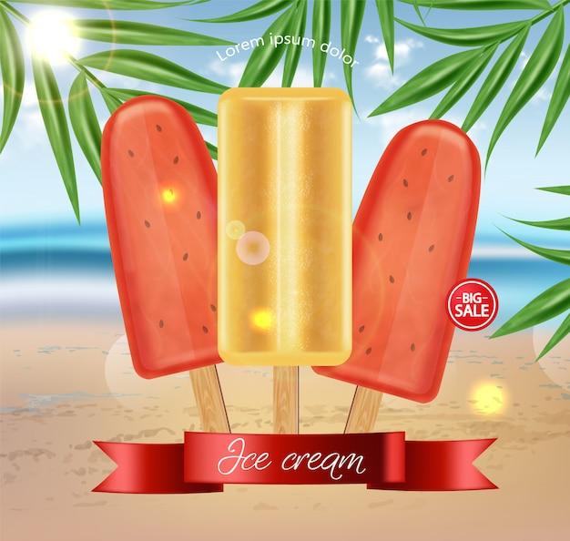 Watermelon ice cream sale banner Premium Vector