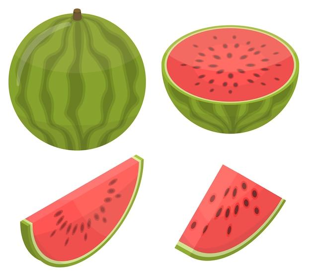 Watermelon icons set, isometric style Premium Vector