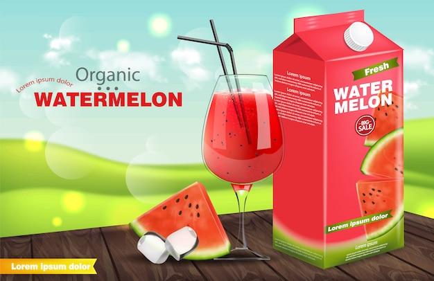 Watermelon juice banner Premium Vector