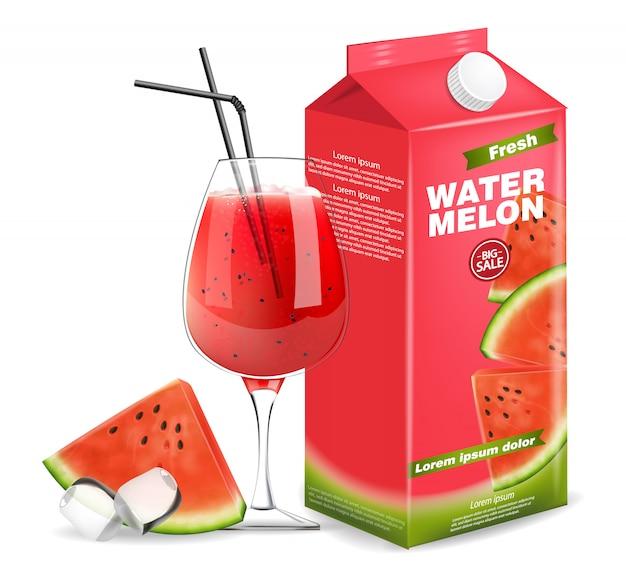Watermelon juice box b Premium Vector