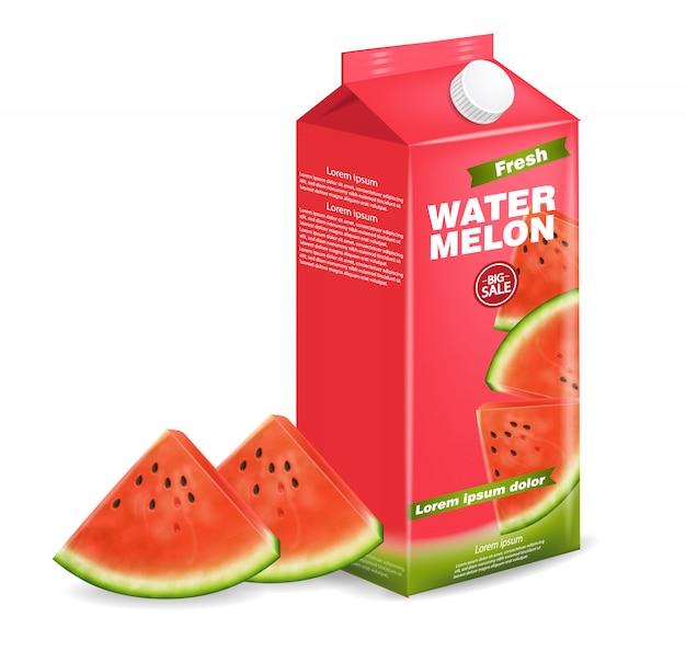 Watermelon juice box Premium Vector