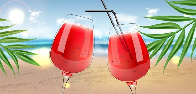 Watermelon juice in glasses Premium Vector