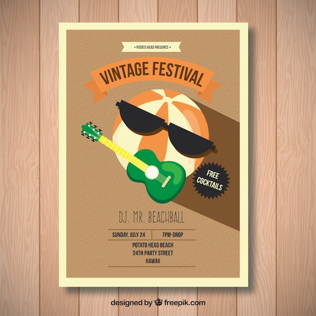A watermelon playing guitar, vintage festival Free Vector