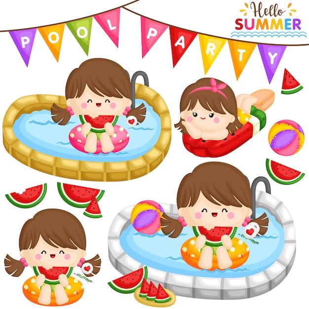 Watermelon pool party girl Premium Vector
