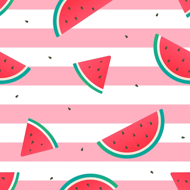 Watermelon seamless pattern vector design Premium Vector