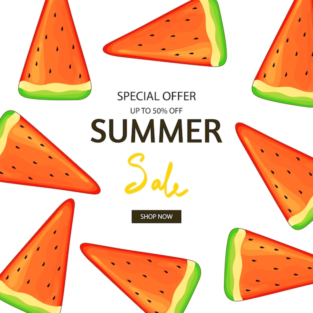 Watermelon summer flyer. Premium Vector