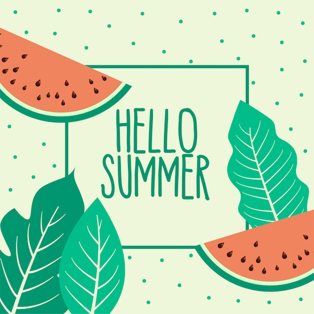 Watermelon summer fruit and leaves background Free Vector