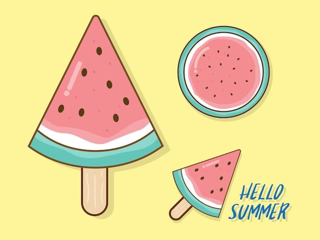 Watermelon in summer vector flat design Premium Vector