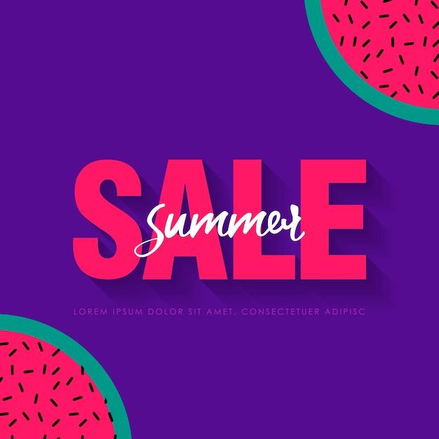 Watermelon super summer sale banner template. origami juicy ripe watermelon slices. healthy food on purple. summertime.  illustration Premium Vector