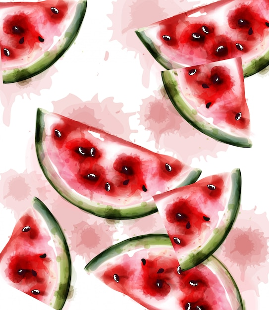 Watermelon watercolor texture Premium Vector