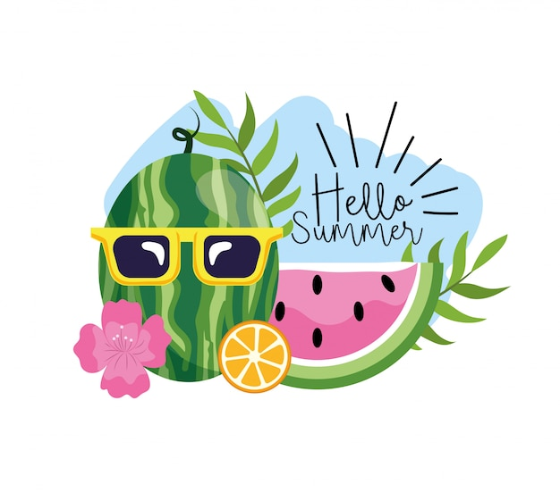 Watermelon wearing sunglasses with tropical flowers and leaves Premium Vector
