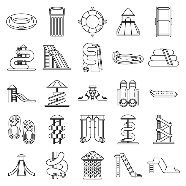 Waterpark icons set, outline style Premium Vector