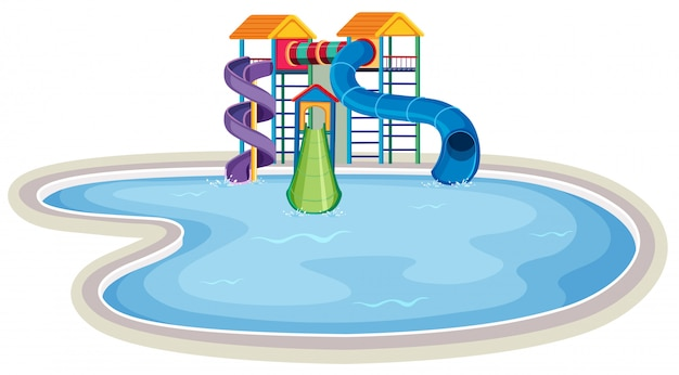 Waterpark large pool scene Premium Vector
